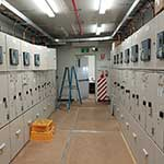Switchroom with switch gear cabinets mostly closed and commissioned