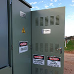 Mobilong Solar Farm LV cabinet and transformer with cabinet door open