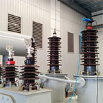 Electrical test leads connected to a power distribution transformer designed by Teck Global