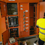 Tests being performed on a kiosk substation